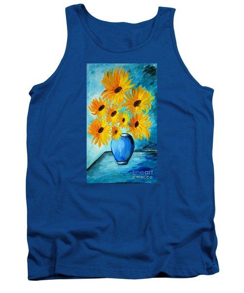 Beautiful Sunflowers In Blue Vase Tank Top by Ramona Matei