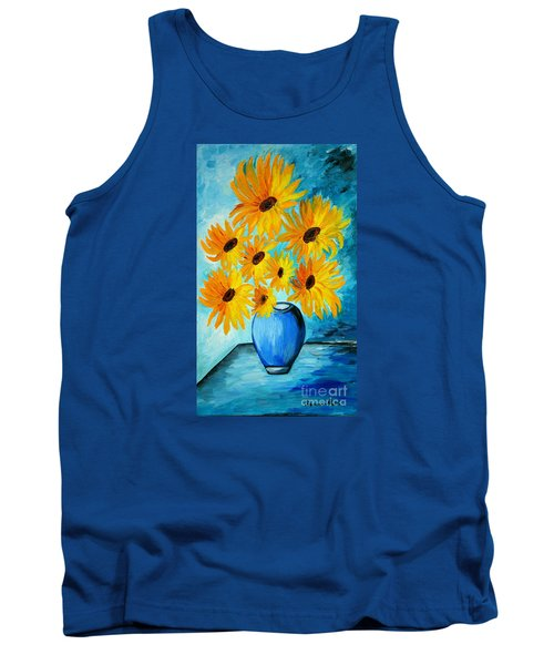 Beautiful Sunflowers In Blue Vase Tank Top