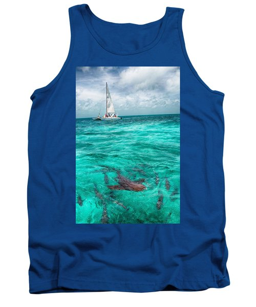 Belize Turquoise Shark N Sail  Tank Top