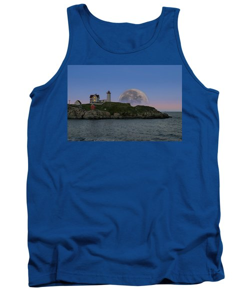 Big Moon Over Nubble Lighthouse Tank Top by Jeff Folger