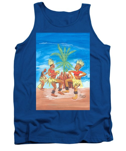 Tank Top featuring the painting Bikutsi Dance 3 From Cameroon by Emmanuel Baliyanga