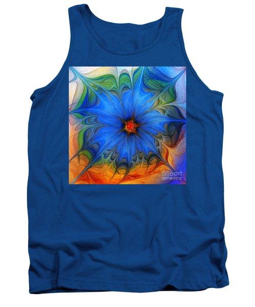 Blue Flower Dressed For Summer Tank Top