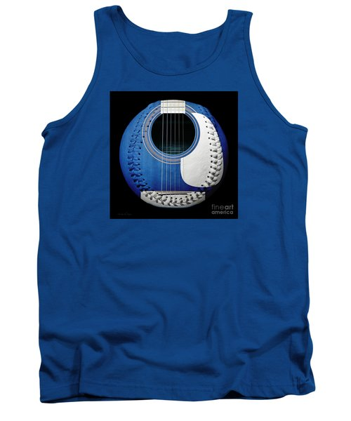 Tank Top featuring the photograph Blue Guitar Baseball White Laces Square by Andee Design