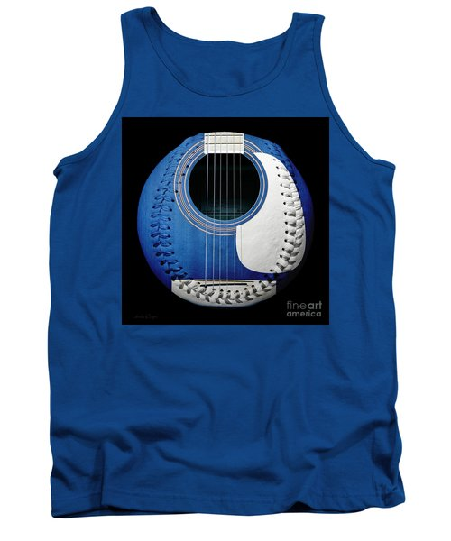 Blue Guitar Baseball White Laces Square Tank Top