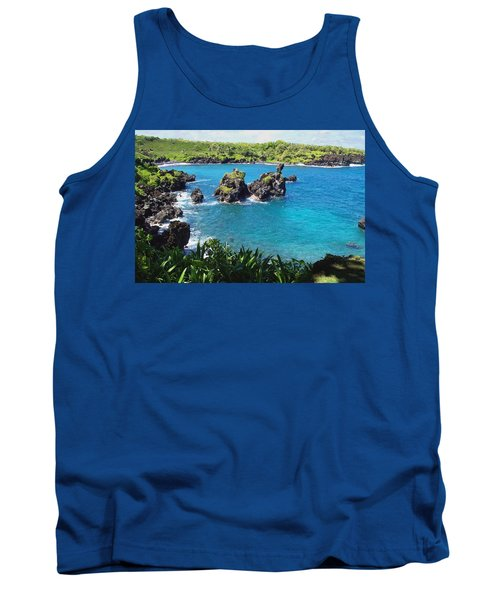 Blue Hawaiian Lagoon Near Blacksand Beach On Maui Tank Top by Amy McDaniel