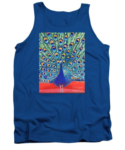 Tank Top featuring the painting Blue Peacock by Jasna Gopic
