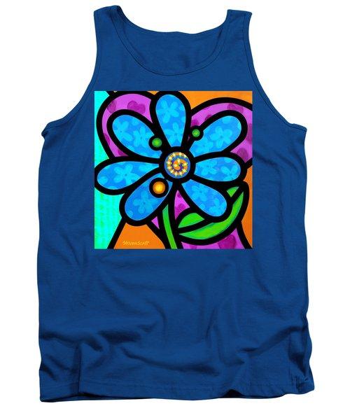 Blue Pinwheel Daisy Tank Top