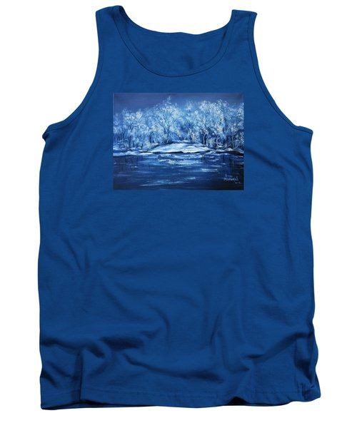 Tank Top featuring the painting Blue Silence by Vesna Martinjak
