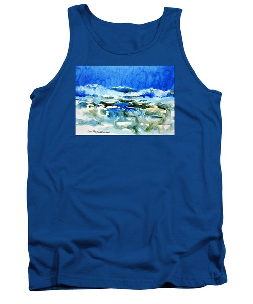 Tank Top featuring the painting Blue Surf by Joan Hartenstein