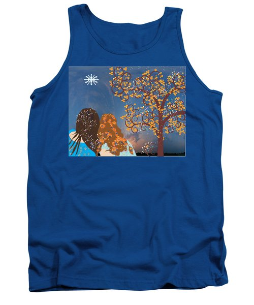 Tank Top featuring the digital art Blue Swirl Girls by Kim Prowse