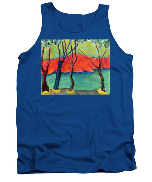 Tank Top featuring the painting Blue Tree 2 by Elizabeth Fontaine-Barr