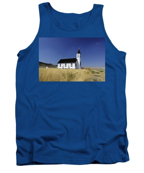 Tank Top featuring the photograph Blue Trim Church by Fran Riley
