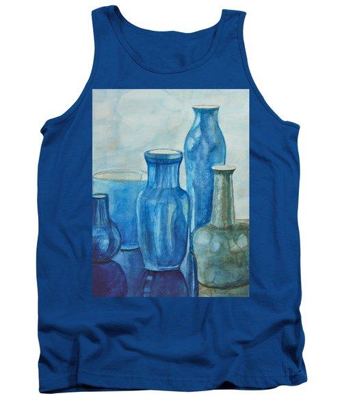 Blue Vases I Tank Top by Anna Ruzsan