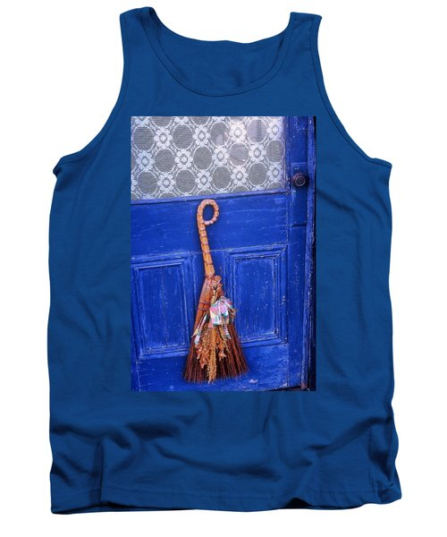 Tank Top featuring the photograph Broom On Blue Door by Rodney Lee Williams