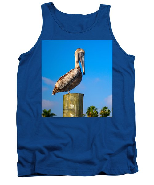 Tank Top featuring the photograph Brown Pelican - Pelecanus Occidentalis by Carsten Reisinger