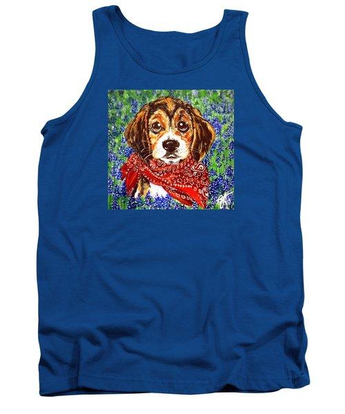 Buddy Dog Beagle Puppy Western Wildflowers Basset Hound  Tank Top