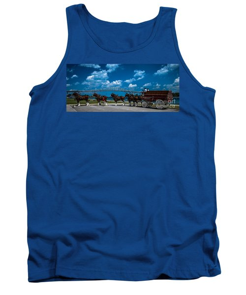 Budweiser Clydsdales And Blue Water Bridges Tank Top
