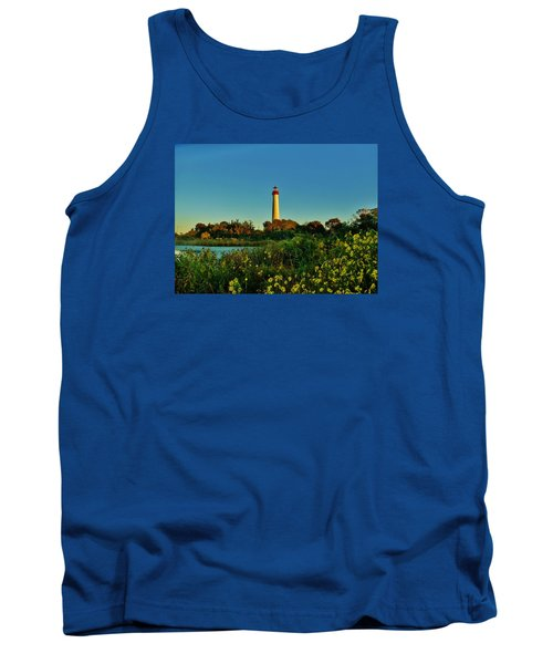 Cape May Lighthouse Above The Flowers Tank Top by Ed Sweeney