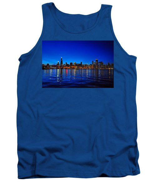 Chicago Skyline At Dusk Tank Top