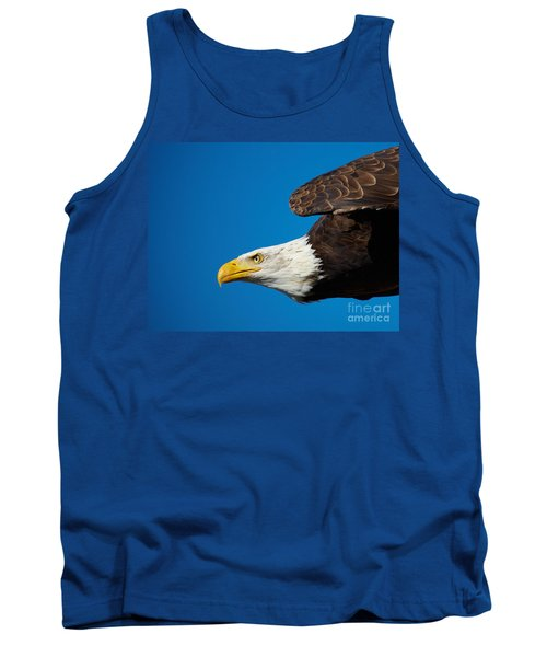 Close-up Of An American Bald Eagle In Flight Tank Top by Nick  Biemans