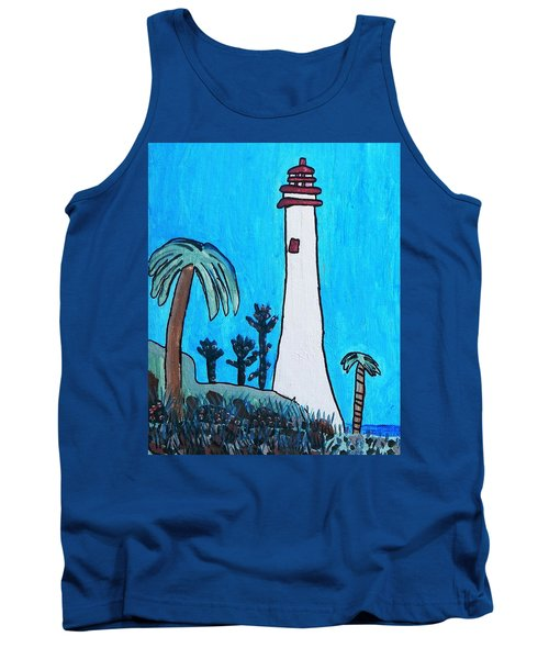 Tank Top featuring the painting Coastal Lighthouse by Artists With Autism Inc