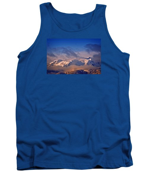Comox Glacier And Morning Mist Tank Top by Richard Farrington