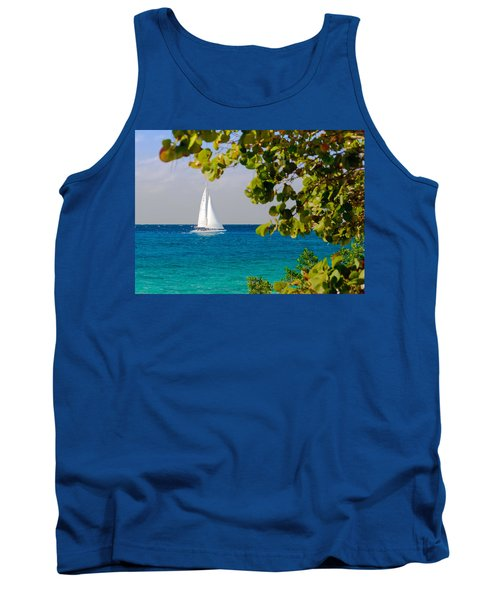 Tank Top featuring the photograph Cozumel Sailboat by Mitchell R Grosky