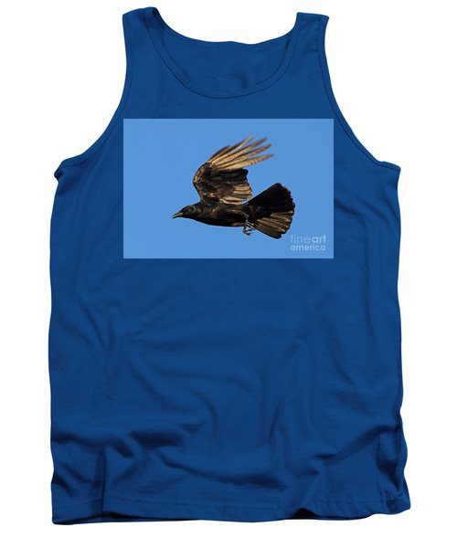 Tank Top featuring the photograph Crow In Flight by Meg Rousher