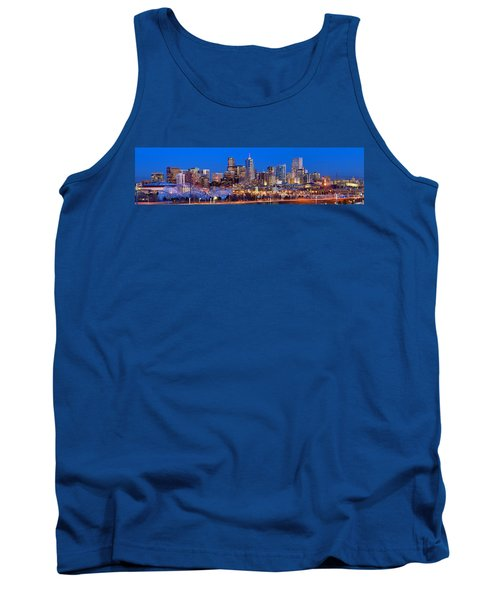 Tank Top featuring the photograph Denver Skyline At Dusk Evening Color Evening Extra Wide Panorama Broncos by Jon Holiday