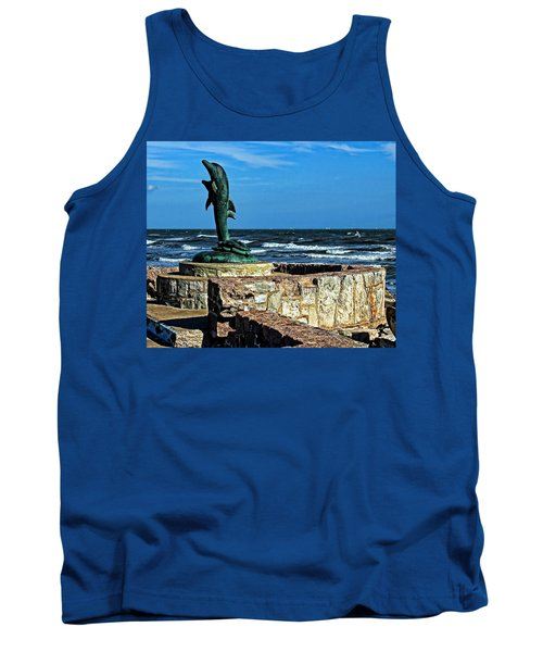 Dolphin Statue Tank Top by Judy Vincent