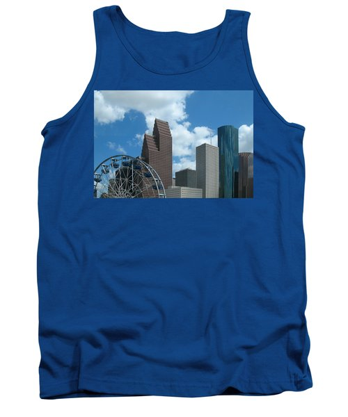 Downtown Houston With Ferris Wheel Tank Top by Connie Fox