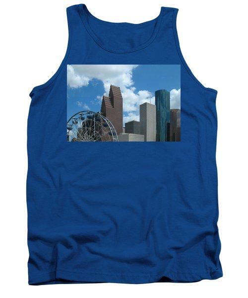 Downtown Houston With Ferris Wheel Tank Top