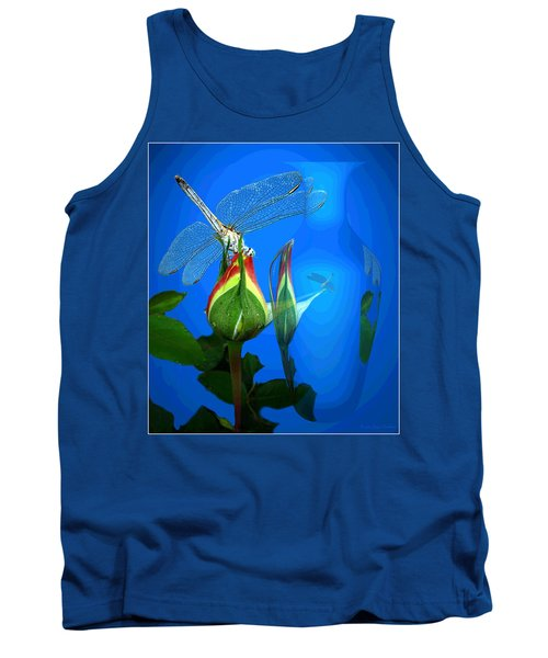Tank Top featuring the photograph Dragonfly And Bud On Blue by Joyce Dickens