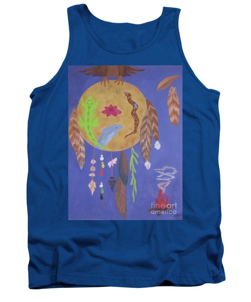 Tank Top featuring the painting Dream Spirit Shield by Ellen Levinson