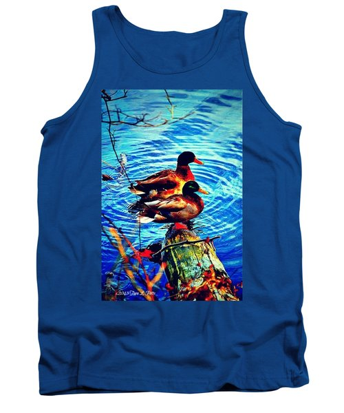 Tank Top featuring the photograph Ducks On A Log by Tara Potts