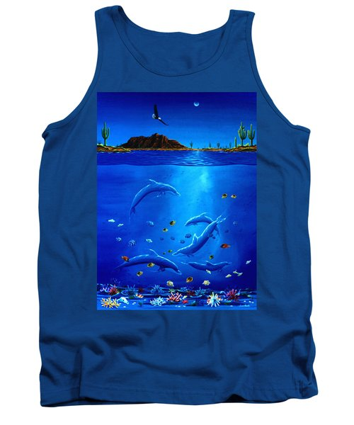 Eagle Over Dolphins Tank Top by Lance Headlee