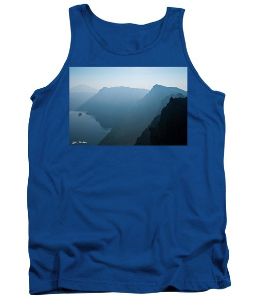 Tank Top featuring the photograph Early Morning Fog Over Crater Lake by Jeff Goulden
