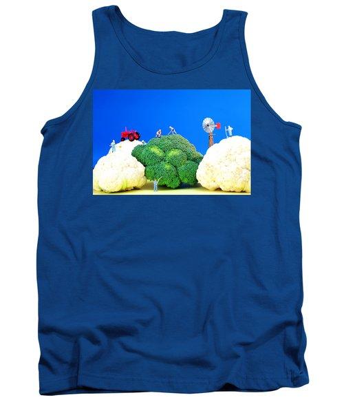 Farming On Broccoli And Cauliflower Tank Top by Paul Ge
