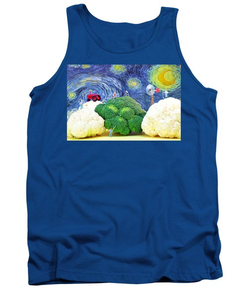 Farming On Broccoli And Cauliflower Under Starry Night Tank Top by Paul Ge