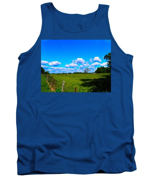 Fence Row And Clouds Tank Top