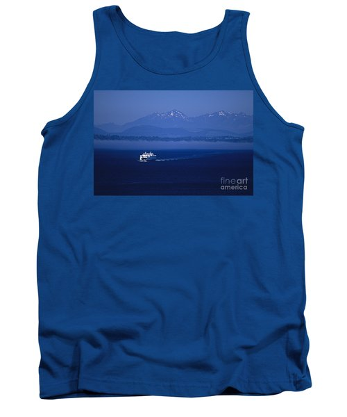Ferry Boat In Puget Sound With Olympic Mountains Tank Top