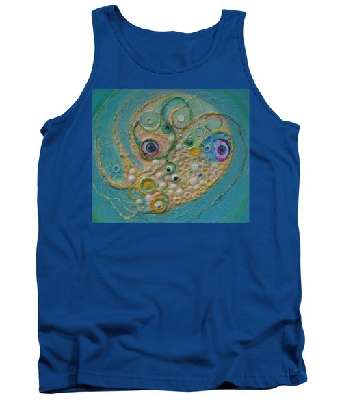 Tank Top featuring the mixed media Fried Egg Head Over Queasy by Douglas Fromm