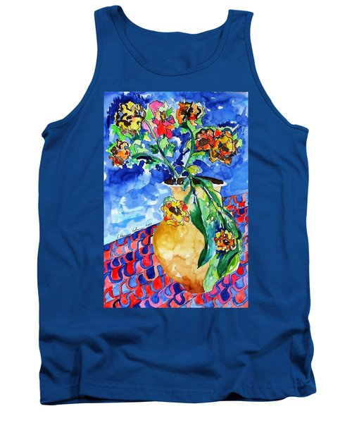 Tank Top featuring the painting Flip Of Flowers by Esther Newman-Cohen