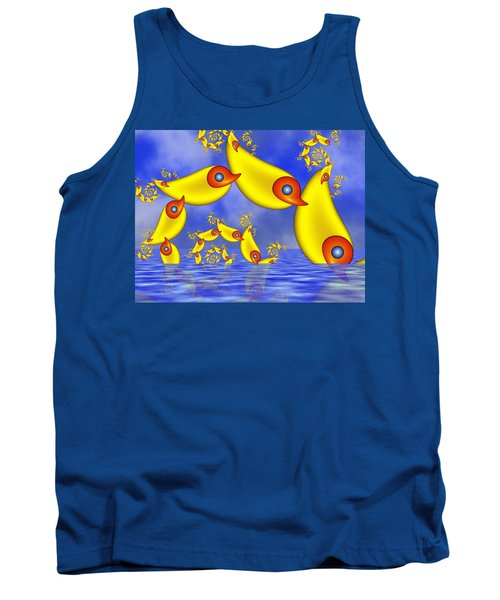 Tank Top featuring the digital art Jumping Fantasy Animals by Gabiw Art