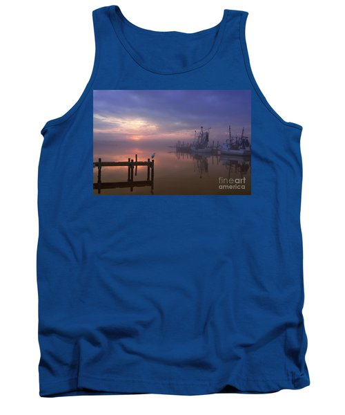 Foggy Sunset Over Swansboro Tank Top by Benanne Stiens
