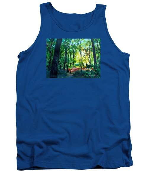 Tank Top featuring the painting Forest Scene 1 by Kathy Braud