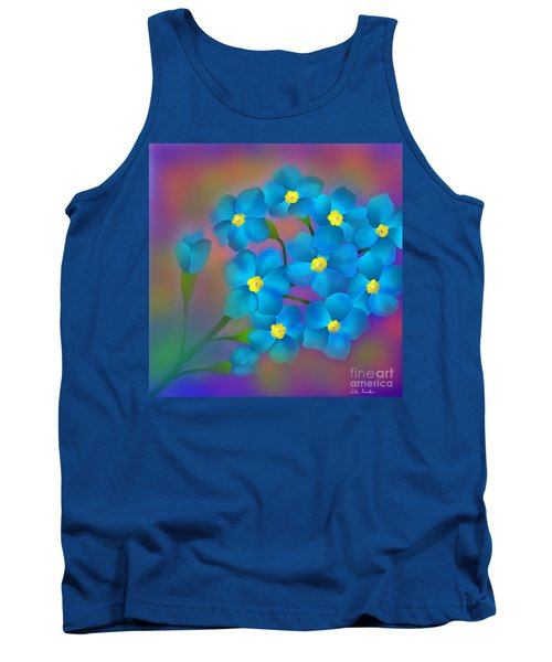 Forget- Me -not Flowers Tank Top by Latha Gokuldas Panicker