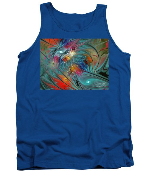 Fresh Mints And Cool Blues-abstract Fractal Art Tank Top