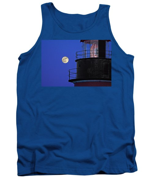 Tank Top featuring the photograph Full Moon And West Quoddy Head Lighthouse Beacon by Marty Saccone