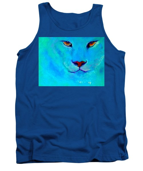 Funky Snow Leopard Turquoise Tank Top